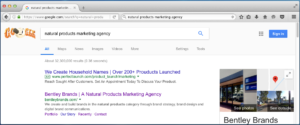 "Google search engine results for search term ""natural products marketing agency"""