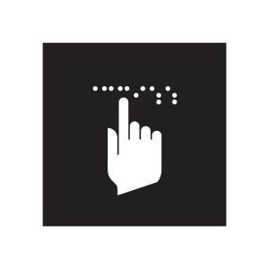 symbol of hand and Braille dots